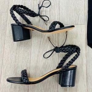 SCHUTZ Block Heel Leather Black Sandals